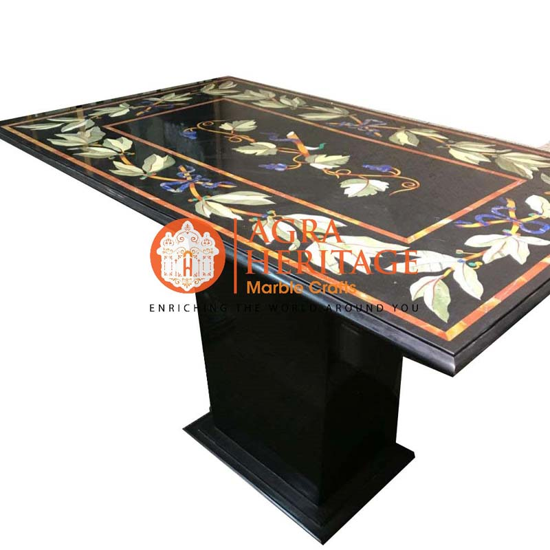 Rectangular Black Marble Dining Stand Inlay Table Top Heritage Marble Crafts