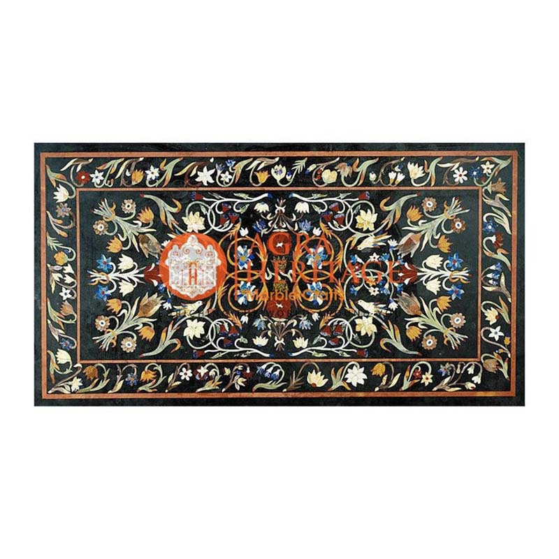 Black Marble Outdoor Dining Table Top Multi Inlay Floral Decor Welcome To Heritage Marble Crafts