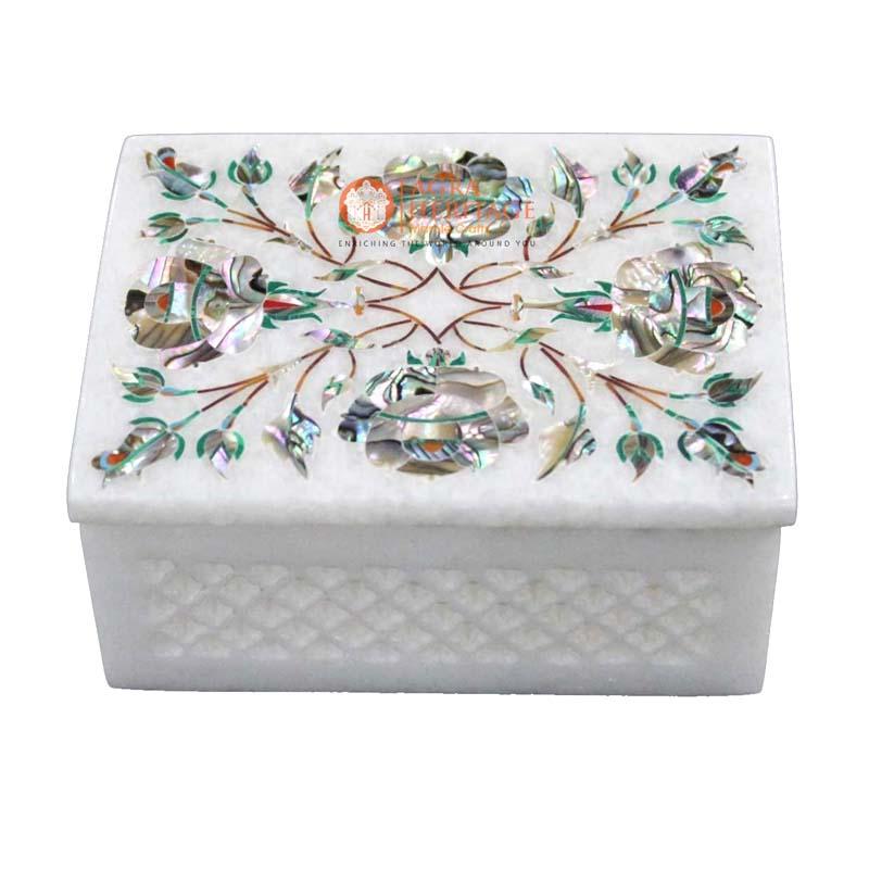 Marble Inlay Box Ablone Shell Semi-Precious Stone Inlaid with Filligiri Work