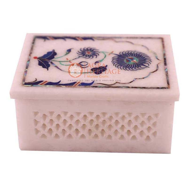 Jewelry box marble inlay boxes hand made pietra dura art collectible
